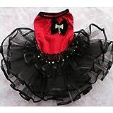 ノーブランド品 ベロアリボン付 ボリュームチュチュワンピ(レッド×ブラック) 犬 ドレス ウエディング L