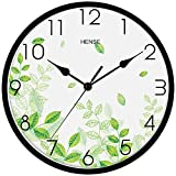 Hense Clocks(ハンセ)壁掛け時計 おしゃれ シンプル 薄型 アナログ時計 消音 連続秒針 HW87-02 緑色葉黒い