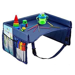 Hangnuo ベビーテーブル チャイルドトレイ 折りたたみ 収納 撥水 メッシュポケット シート固定バンド付き 幼児 机 デスク テーブル 子供 チャイルドシート (青)
