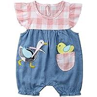 Hotwon Baby Girl Denim Romper Jumpsuit Kids Girls Cute Plaid Duck Bodysuit One-Piece Outfit Clothes
