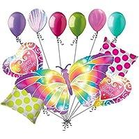 11pc光カラフルバタフライHappy誕生日バルーンブーケパーティー装飾