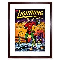 Comic Super Hero Cover Lightning Comic 5 Vintage Retro Framed Wall Art Print 漫画スーパー勇者カバー光漫画ビンテージレトロ壁