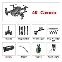 RC WiFi FPVドローン4K広角カメラRCヘリコプター1080P HDカメラクアッドコプター航空機空撮ビデオ、ブラック4K