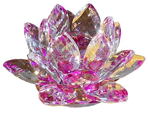 クリスタル ガラス 置物 カラフル 蓮の花 インテリア 花 ハス 風水 開運 サンキャッチャー (パープル)