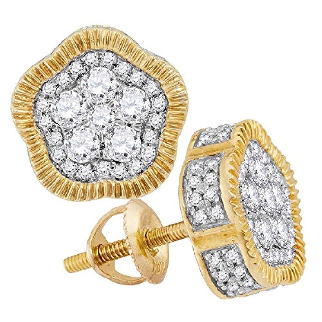 堤防しわメニューLCD メンズ 10カラットイエローゴールドラウンドダイヤモンドの3D Milgrain星団スタッドピアス3/4 Cttw