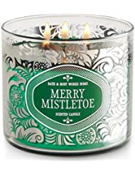 Bath and Body WorksホワイトバーンMerry Mistletoe 3 Wick Candle 14.5オンス