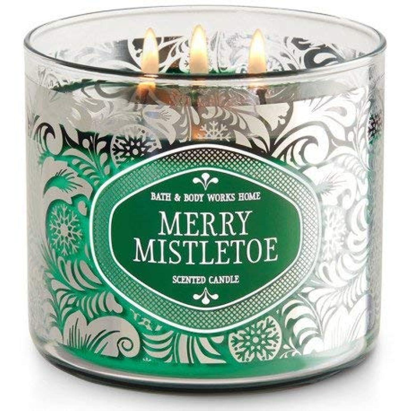 事業内容にやにや急行するBath and Body WorksホワイトバーンMerry Mistletoe 3 Wick Candle 14.5オンス