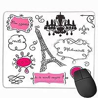 フランス風ロココバロックランタンマドモアゼルプリントカスタムマウスパッドホットピンクと黒のティーンルーム滑り止めラバーベース落書きフレーム