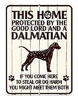 ダルメシアン 雑貨 PROTECTED BY THE GOOD LORD AND A DALMATIAN 当店Sサイズ アメリカンブリキ看板