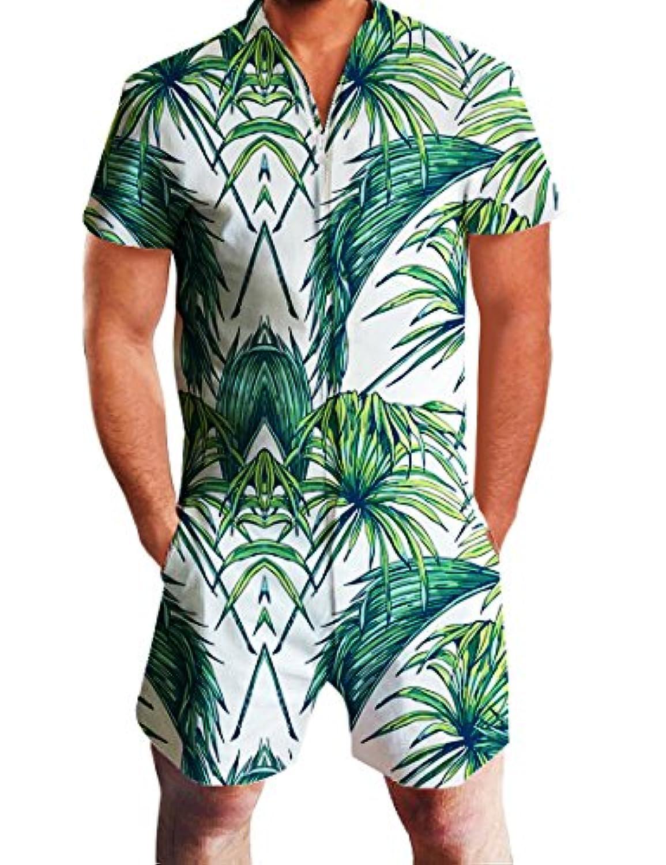 NEWISTAR メンズ シャツ 半袖 つなぎ服 オーバーオール オールインワン ツナギ 創意デザイン 大きいサイズ