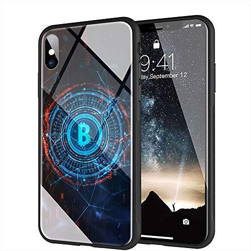 iPhone 6 Plus ケース, iPhone 6s Plus ケース, と互換性のある強化ガラスバックカバーソフトシリコンバンパー iPhone 6 Plus/6s Plus AMA-16 BTCビットコイン