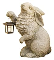 Rabbit with Solar Lantern Garden Resin Sculpture 13 L x 7? W x 16? H [並行輸入品]