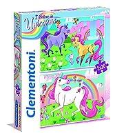 Clementoni 24754 Clementoni-24754-スーパーカラー-ユニコルノ 2 x 20 Pièces 24754-スーパーカラーユニコーンブリリアント-2 x 20 ピースジグソーパズル、マルチカラー