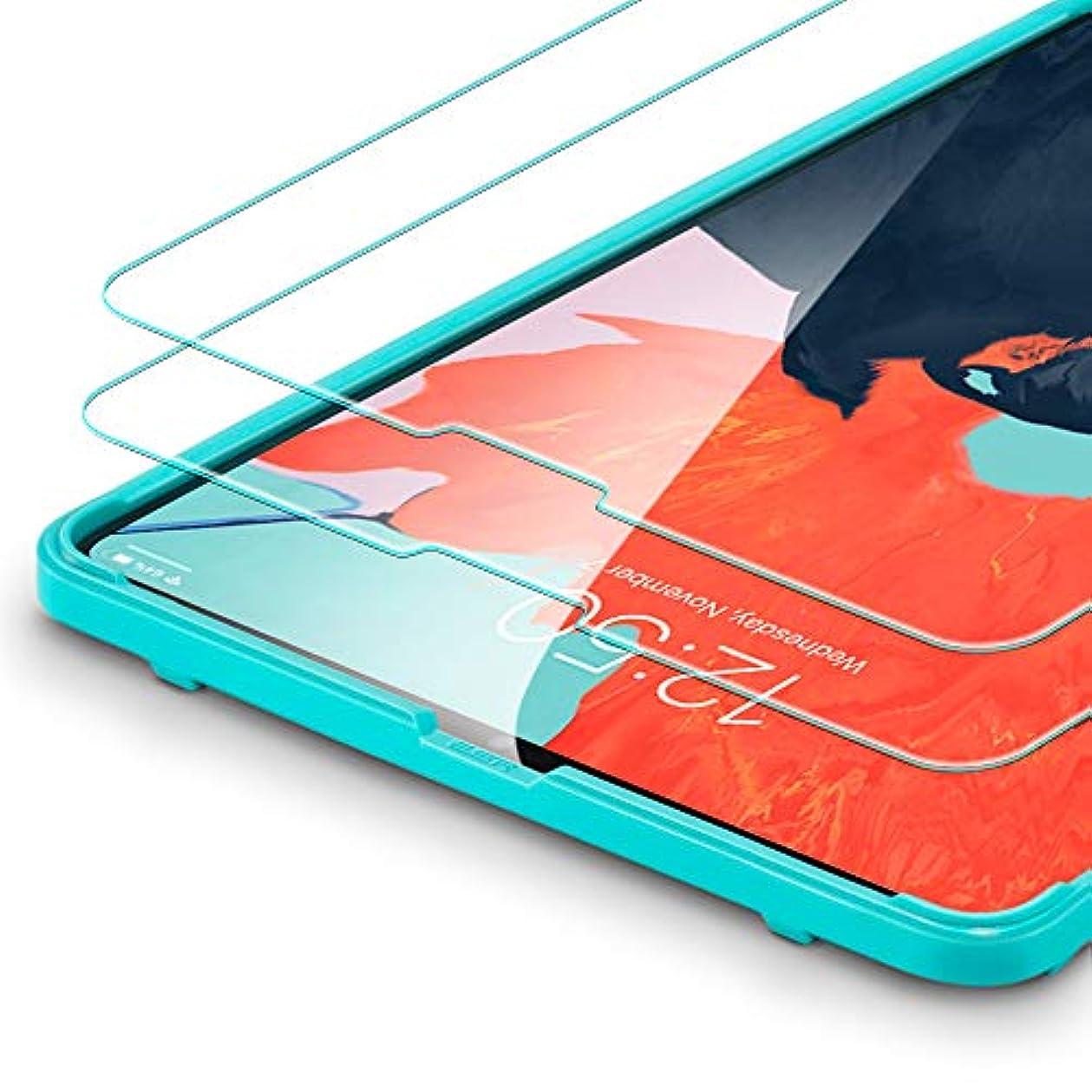 特異な検査インタビューESR iPad Pro 12.9 フィルム 2018 日本製素材旭硝子製 三倍強化 0.3mm 液晶保護フィルム 高透明度 硬度9H 気泡自動排除 スクラッチ 指紋防止 iPad Pro 12.9インチ用 貼り付けガイド枠付き(2枚入り)
