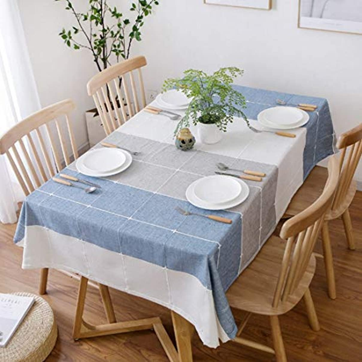 肥沃な二層スクレーパーSceliny テーブルクロス単純な格子の長方形多目的な布のアートコーヒーテーブルの装飾ホームテーブルクロス (色 : 青, サイズ : 130*180CM)