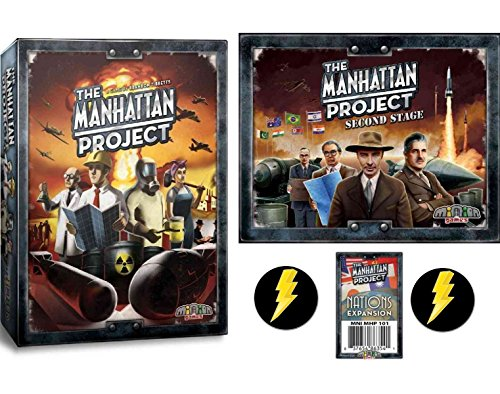 マンハッタン計画 ボードゲーム ベースゲーム+セカンドステージ+国家拡張+稲妻バッジ2個セット