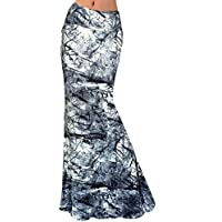 Aisa Womens Multicolored Two Tone Damask Printed Maxi Skirt