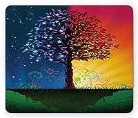 ネイチャーマウスパッド、昼と夜のガーデンフルーツのある冬と夏のテーマツリープリントアートワーク、標準サイズの長方形の滑り止めラバーマウスパッド、多色