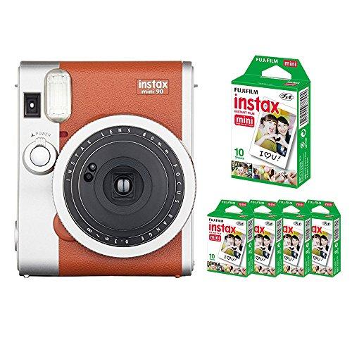 【フィルム50枚セット】FUJIFILM インスタントカメラ instax mini90 チェキ ネオクラシック (ブラウン)