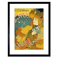 Advert Book Paris Almanac Library Information France Framed Wall Art Print 広告本パリフランス壁