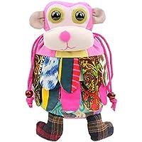 フォークカスタム手作りモンキースタイルのショルダーバッグ、子供のためのスクールバッグ、ピンク