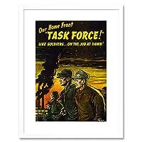 Propaganda WWII War USA Task Force Home Front New Framed Wall Art Print 宣伝第二次世界大戦戦争アメリカ合衆国力ホーム壁
