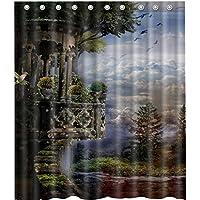 鳥ツリーとcloudshower curtain-waterproof-machine washable-69