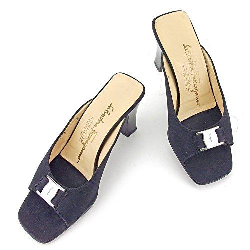 サルヴァトーレ フェラガモ Salvatore Ferragamo サンダル シューズ 靴 レディース ♯4B スタックヒール ヴァラ 中古 良品 T5831