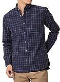 (アーケード) ARCADE 春 カジュアルシャツ ボタンダウン メンズ 長袖 ストライプ チェック 柄シャツ ブロードシャツ XL(LL) ネイビーウィンドペン