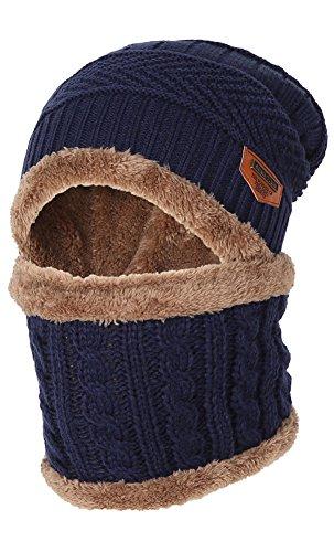 JNINTH 暖かい ニット帽子 ネックウォーマー 2点セット 裏起毛 防寒 保温 冬 アウトドア 通学 男女兼用 ブルー