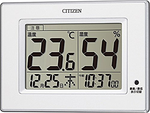 CITIZEN シチズン 温度計 湿度計 時計付き ライフナビD200A 白 8RD200-A03