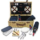 Picnic Pack Classic Wicker Picnic Basket Royal Blue, Upscale Service for 4 with Fleece Blanket [並行輸入品]