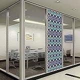 YOLIYANA ビニール 非粘着性プライバシーフィルム アクア キッチン 寝室 長方形 三角形 抽象的デザイン スケッチライン 装飾 24''x78'' YO_03_07_Q0404_084115