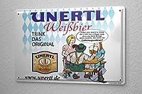 Tin Sign ブリキ看板 Weissbierbrauerei Unertl drinking a beer garden and the original