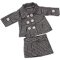 Lovoski 18インチアメリカガールドール人形のため 洋服 スーツ ジャケット スカート セット ドレスアップ おもちゃ 2色選ぶ - グレー