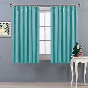 NICETOWN 遮光カーテン 2枚セット スカイブルー 省エネ UVカット ブラインド 幅100cm丈135cm