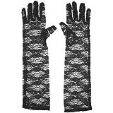 Perfeclan ロングレースグローブ 長い レース 手袋 結婚式 ハロウィンパーティー ドレスの小道具 3色選べ - ブラック