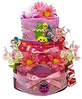 おむつケーキ トリプルハッピーツリー ピンク 出産祝い 女の子 (パンパース テープS 36枚) Sassy おもちゃ スタイ フェイスタオル