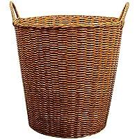 プラスチック模倣籐のランドリーバスケットポータブル家庭汚れたハンパー服雑貨のストレージバスケット (サイズ さいず : 45 * 34 * 45cm)