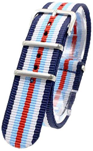 【 気分に合わせて簡単交換 】 ( ネイビー/ホワイト/スカイブルー/レッド 18mm ) NATO タイプ ナイロン ベルト ストラップ 腕時計 2PiS 【 交換マニュアル付 】