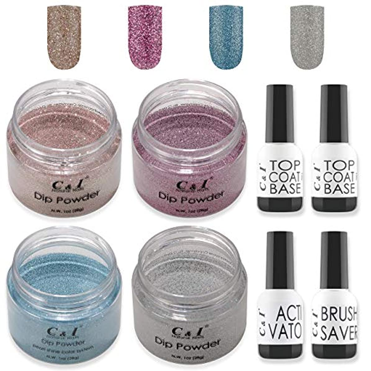 闘争アレンジ信頼性のあるC&I Dip Powder Nail Colors & Liquids Set, 4 colors and 4 liquids, glittering nail powder, N.W. 28 g * 4 pcs &...