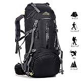 Meily 登山用リュック ナップザック スポーツバッグ 50L 防水 軽量 登山 ハイキング トレッキング キャンプ レインカバー付き (ブラック)