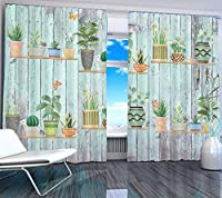 wide140cm high142cm、グロメットトップ:プリントカーテンは部屋のベッドルーム近代的なウィンドウの暗幕印刷リビング木製ボードの盆栽を2019自宅の窓をカスタマイズ