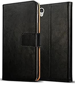 Finon(フィノン)高級ブラックレザー(レザー+PC素材)【ブラック レザー タイプ 】 指紋が付かないフィルム付【Xperia Z3】専用 ケース カバー カラー:ブラック