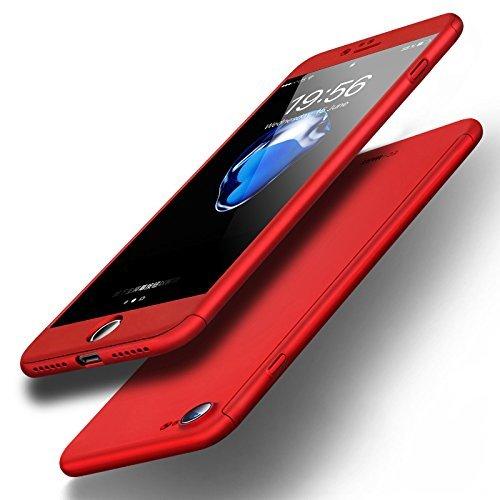 Imikoko iPhone 7 ケース iPhone 8 ケース 全面保護 強化ガラスフィルム 360度フルカバー 衝撃防止 アイフォン7/8 カバー おしゃれ 高級感 薄型 携帯カバー レッド (iPhone7, レッド)