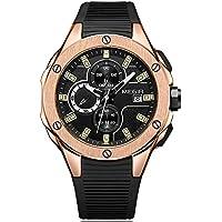 MEGIR Men's Sports Quartz Watches Luminous Waterproof Army Silicone Chronograph Stop Wristwatch for Man