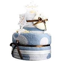 今治タオル おむつケーキ ウォッシュ&バスタオル付き 紋ごのみ(青) ミキハウス スティックラトル・マルチ パンパースM [ 出産祝い 内祝い ] 日本製