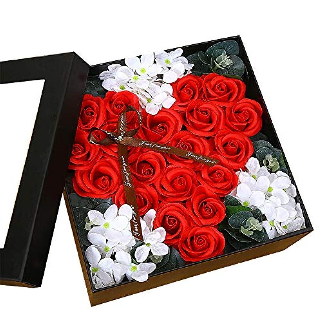 少数男性散る生地と花石鹸の花 ギフトソープフラワーローズフラワーバレンタインデーのために不可欠ガールフレンド記念日誕生日母の日 (色 : Red square box)