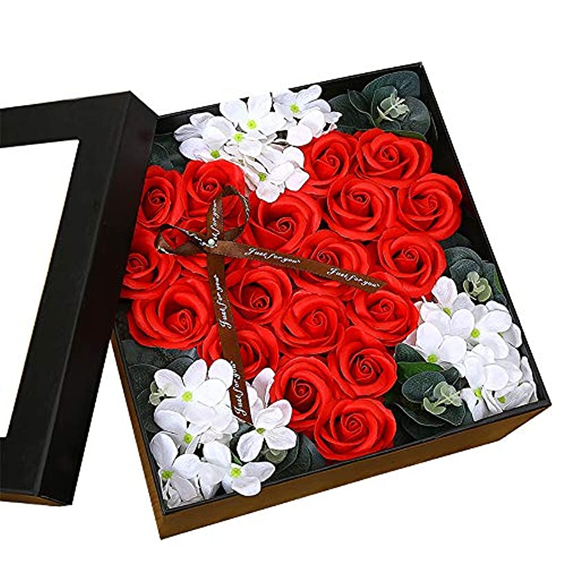 神話石油拘束する生地と花石鹸の花 ギフトソープフラワーローズフラワーバレンタインデーのために不可欠ガールフレンド記念日誕生日母の日 (色 : Red square box)