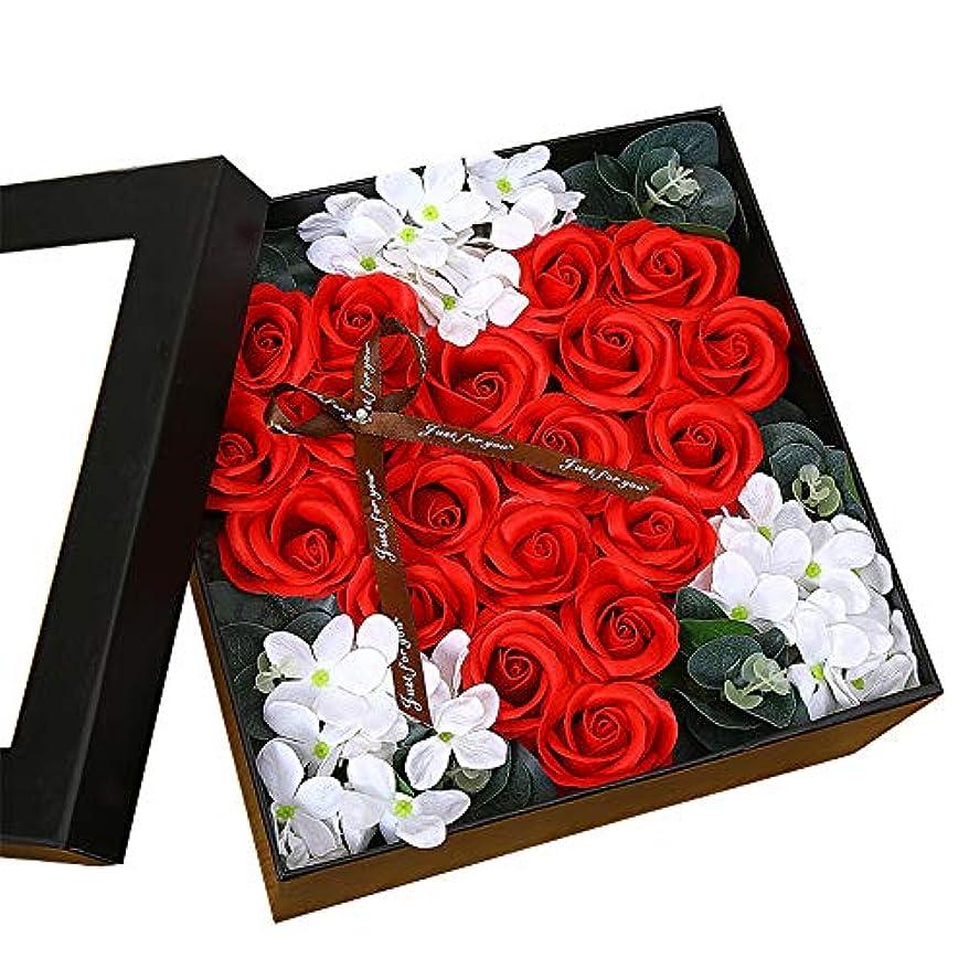 直接快適飼い慣らす生地と花石鹸の花 ギフトソープフラワーローズフラワーバレンタインデーのために不可欠ガールフレンド記念日誕生日母の日 (色 : Red square box)